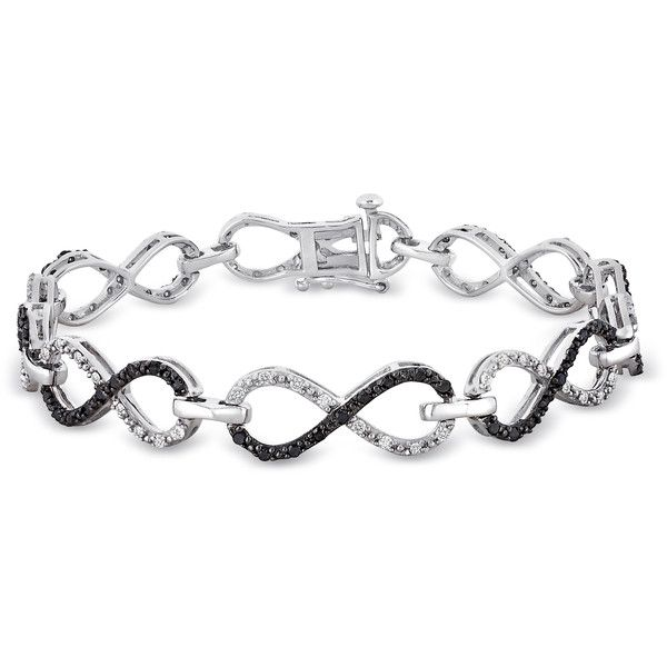 Ice 1 1/10 CT Black and White Diamond Black Rhodium Plated Bracelet ($405) ❤ liked on Polyvore featuring jewelry, bracelets, women's accessories, studded bracelet, 2 tone bracelet, diamond jewelry, infinity bracelet and diamond bangle