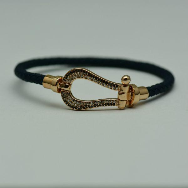 Bratara din piele bleumarin cu aur roz 18k si diamante  #bratariauralb #brataricudiamante #diamante #diamondbracelets #diamonds