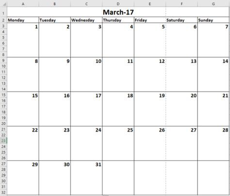 How to Make a Calendar Template in Excel COMPUTERSTools  Tips