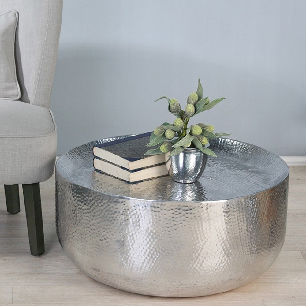 Moroccan Hammered Coffee Table, Silver