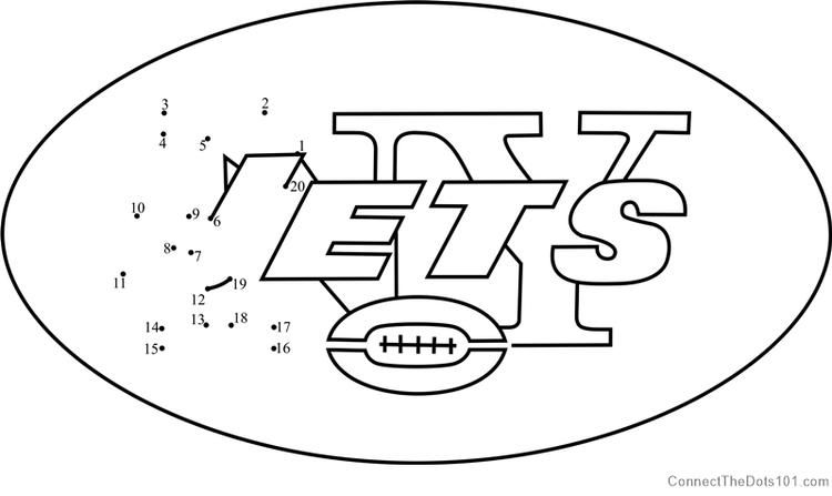 New York Jets Logo Dot To Dot Flag Coloring Pages Printable