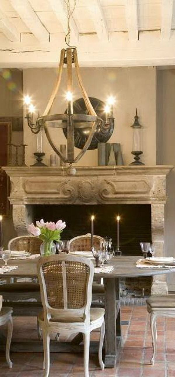 Dining Fireplace Chandelier French Country