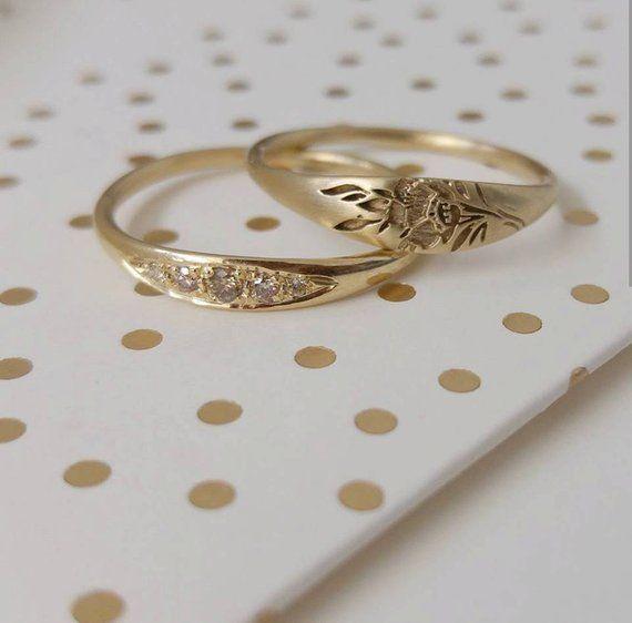 Photo of Delicado anillo de compromiso, anillo de compromiso con diamantes de coñac, anillo de compromiso único, sujetador …
