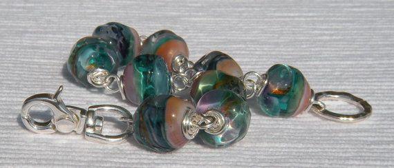 Peacock Sedona Glass Bracelet by CloverBlueToo on Etsy, $98.00