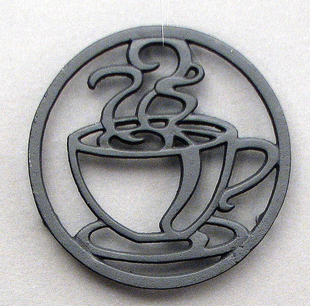 Cast iron kitchen trivet tea pot stand metal hot dish tray cookware - Cast Iron Black Coffee Cup Steam Design Trivet W Rubber Feet 7 Tea Pot