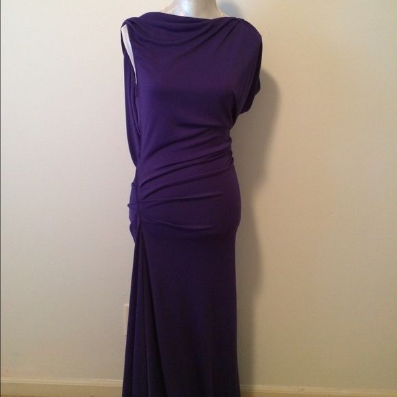 BCBG asymmetrical draped formal dress Deep purple, very forgiving on all body types. The back is open with a gold chain. Slight ruching on the hip. Worn once. Perfect condition. Slight leg slit. BCBGMaxAzria Dresses Backless