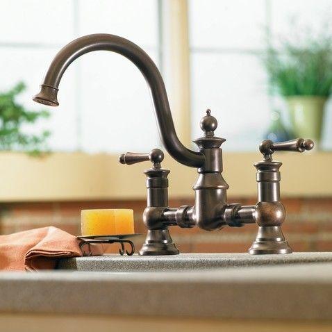 Moen Waterhill Oil rubbed bronze two-handle high arc kitchen faucet ...