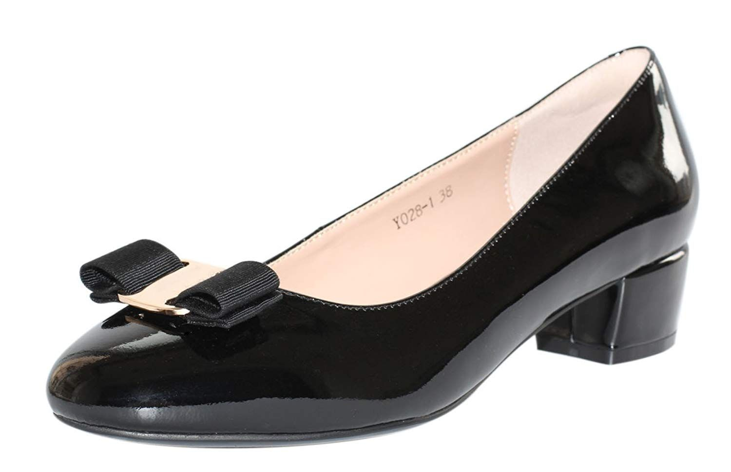 c69da143153 JARO VEGA Women s Glossy Patent Leather Low Chunky Heel with Bow Dress  Pumps Shoes.Women s