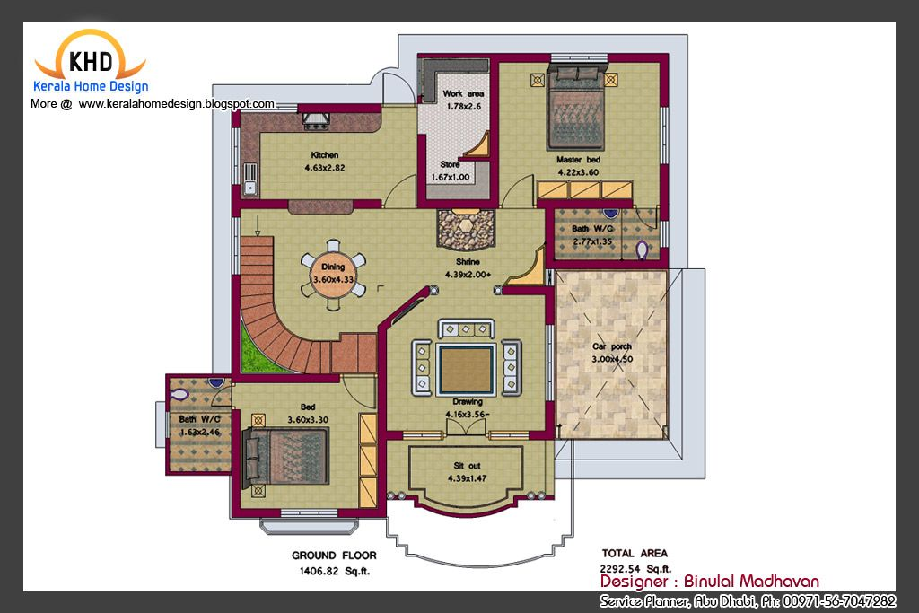 House Plan And Elevation 2292 Sq Ft Home Appliance House Design Kerala House Design Home Design Plans