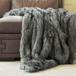 Luxuriously Thick And Lush This Rich Long Hair Silver Fox Fur Throw Reverse To A Soft And Plush Shea Faux Fur Throw Blanket Faux Fur Bedding Fur Throw Blanket