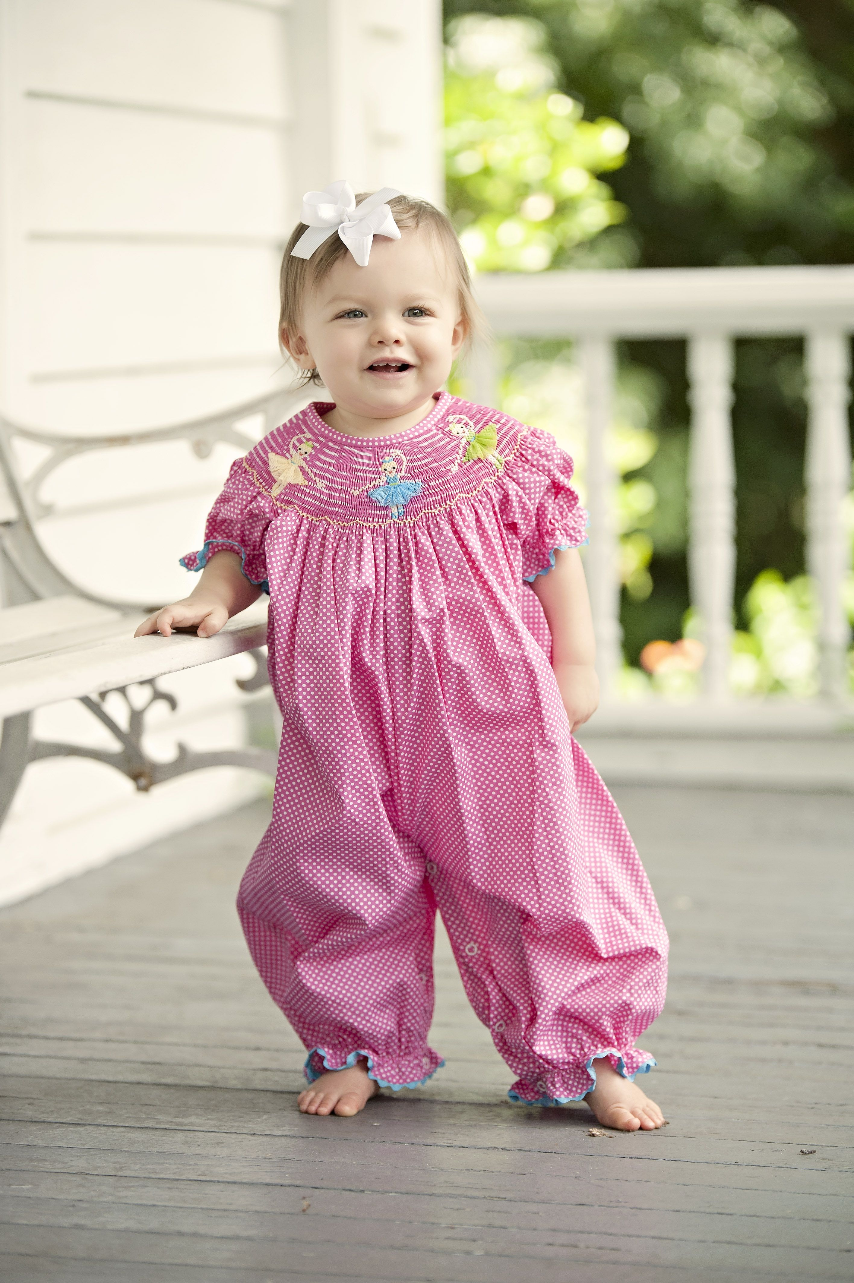 58f9b0b6cec3 Your tiniest dancer will love our pink bubble bishop with three smocked  ballerinas wearing tulle tutus