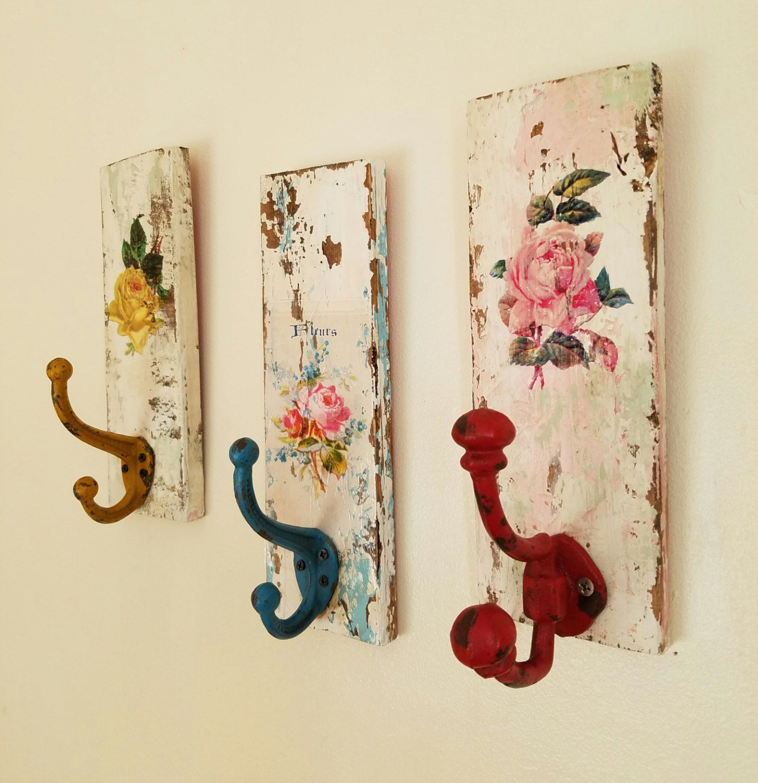 Decorative Wall Hooks Shabby Cottage Coat Rack Towel Rack Distressed Hand  Painted Home Decor  Set Of Three