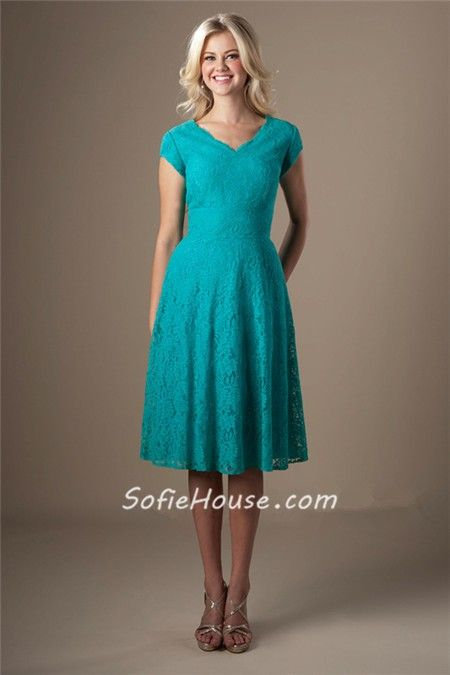 Turquoise Lace Dress With Sleeves - Missy Dress
