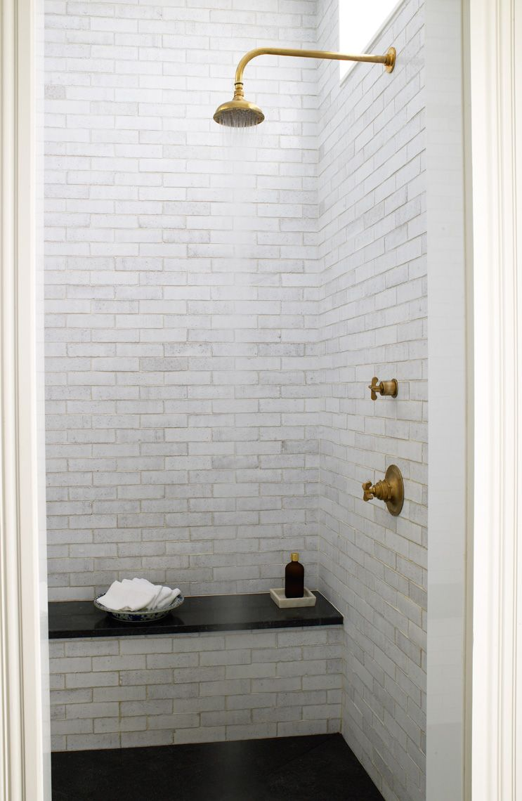 Modern Victorian House   Grove Brickworks Tile And Henry Showerhead, All By  Waterworks, In The Master Bath.