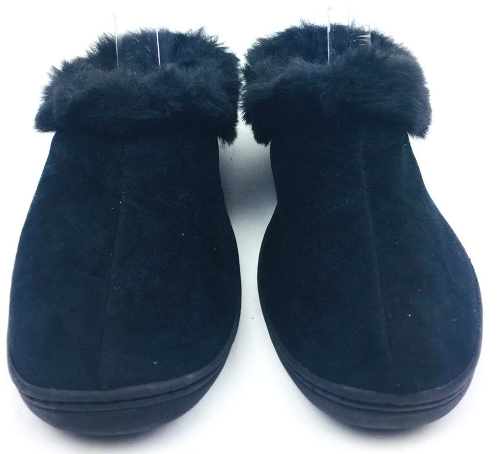 Women Plush House Slippers Black Bedroom Shoes Size 7 Unbranded