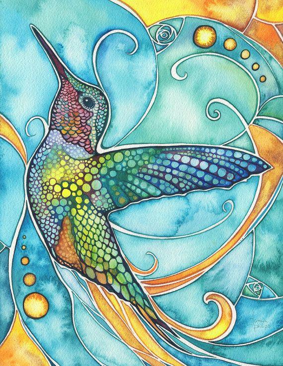 Kolibri 85 x 11 print Aquarell Kunstwerke in von DeepColouredWater