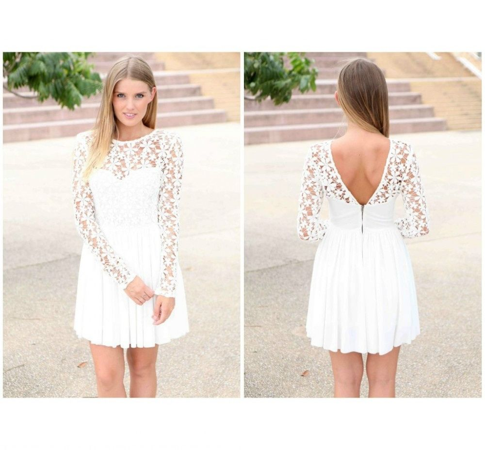 b15143a6a1a Modest Long Sleeve Homecoming Party Prom Dresses Short Junior High White  Graduation Dresses