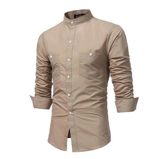 YONGM Mens Stand Collar Short Sleeve Printed Button Down Irregular Hem Dress Shirt