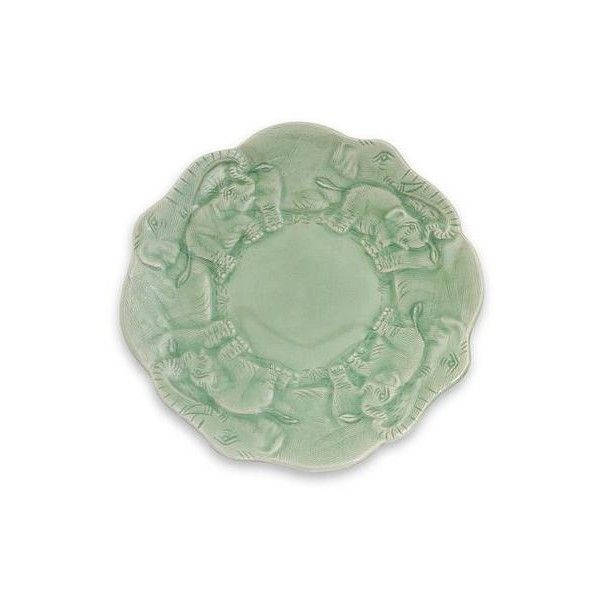 NOVICA Artisan Crafted Elephant Theme Thai Celadon Ceramic Plate ...