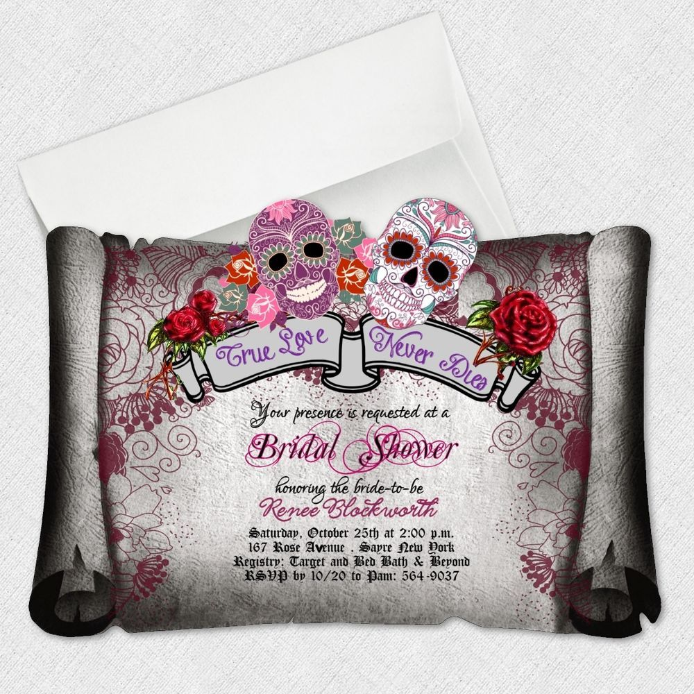 details about sugar skull bridal shower invitations day of the, Wedding invitations