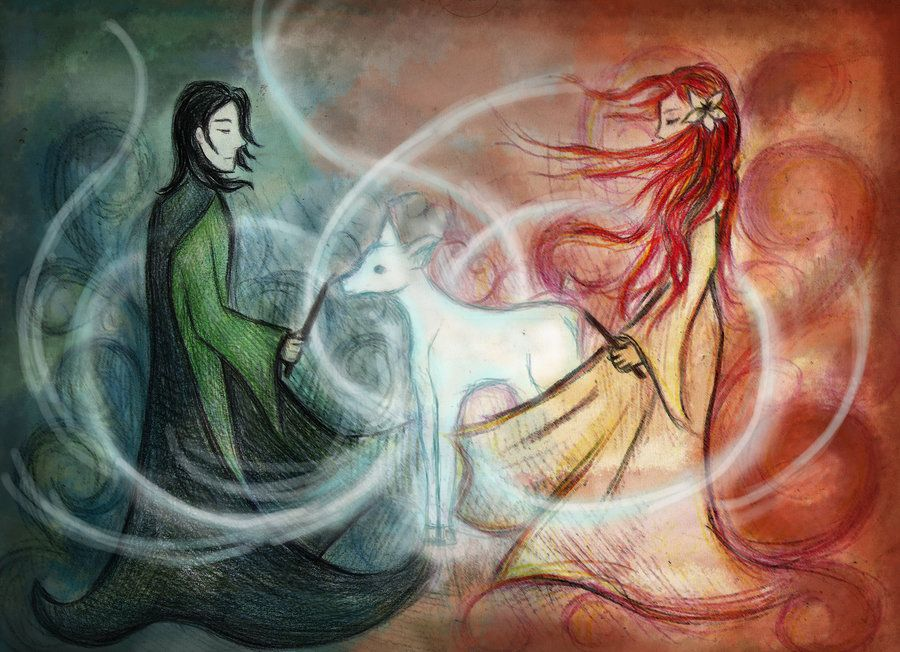 6a7b1610488 Severus and Lily and doe patronus by ~vivsters on deviantART