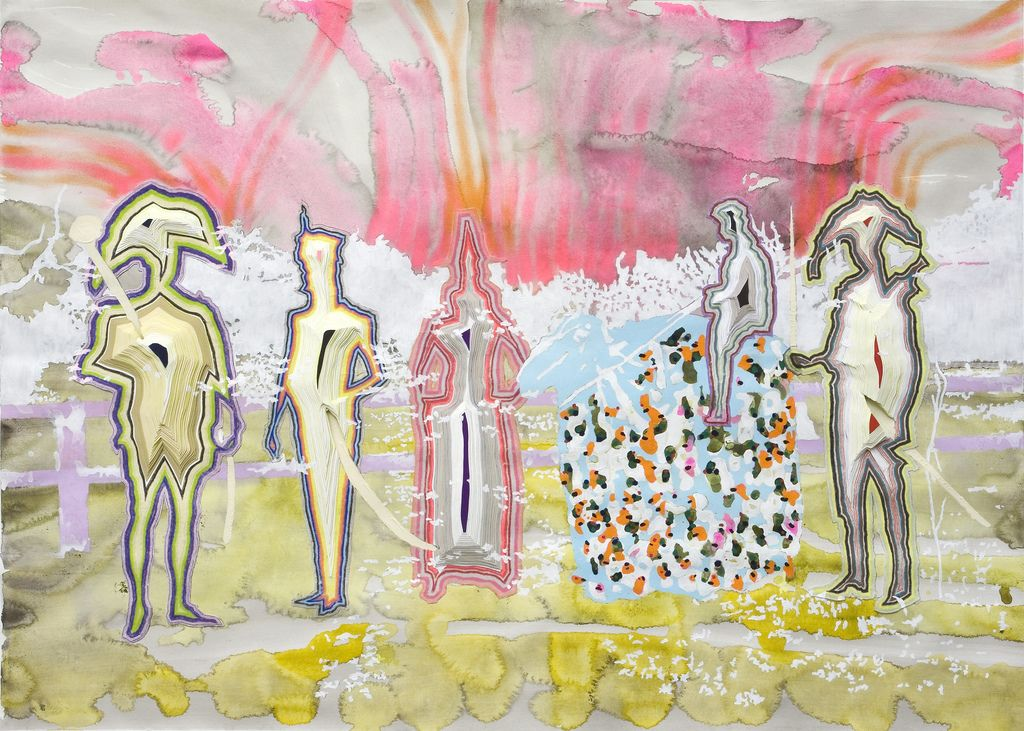 Anna Fidler Bon Vivants  Sculpted Collage, Acrylic, Colored Pencil 24 x 36 Inches