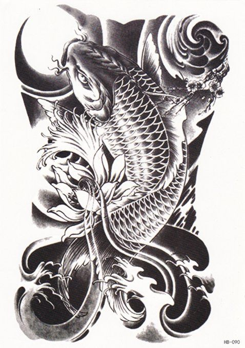50 Koi Fish Tattoo Designs For Men: (Koi Fish) Possible To Use With Color For Cover Up Of