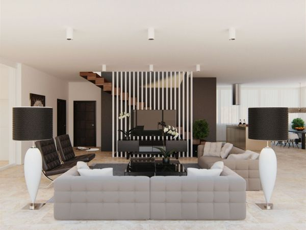 modernes Wohnzimmer Kristallkronleuchter Sofa weiß | Wohnideen