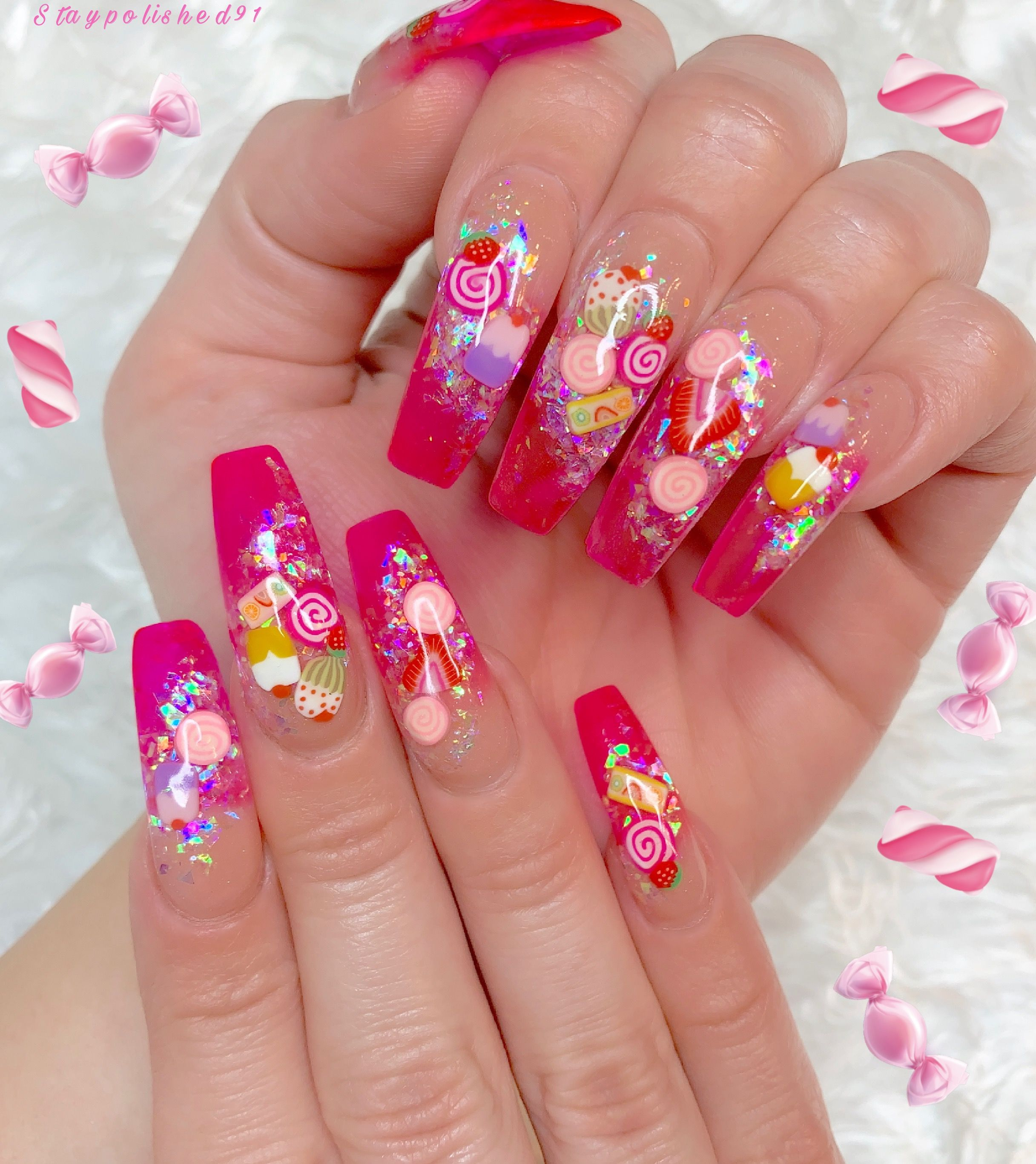 Staypolished91 Instagram In 2020 Fruit Nail Designs Kawaii Nails Encapsulated Nails