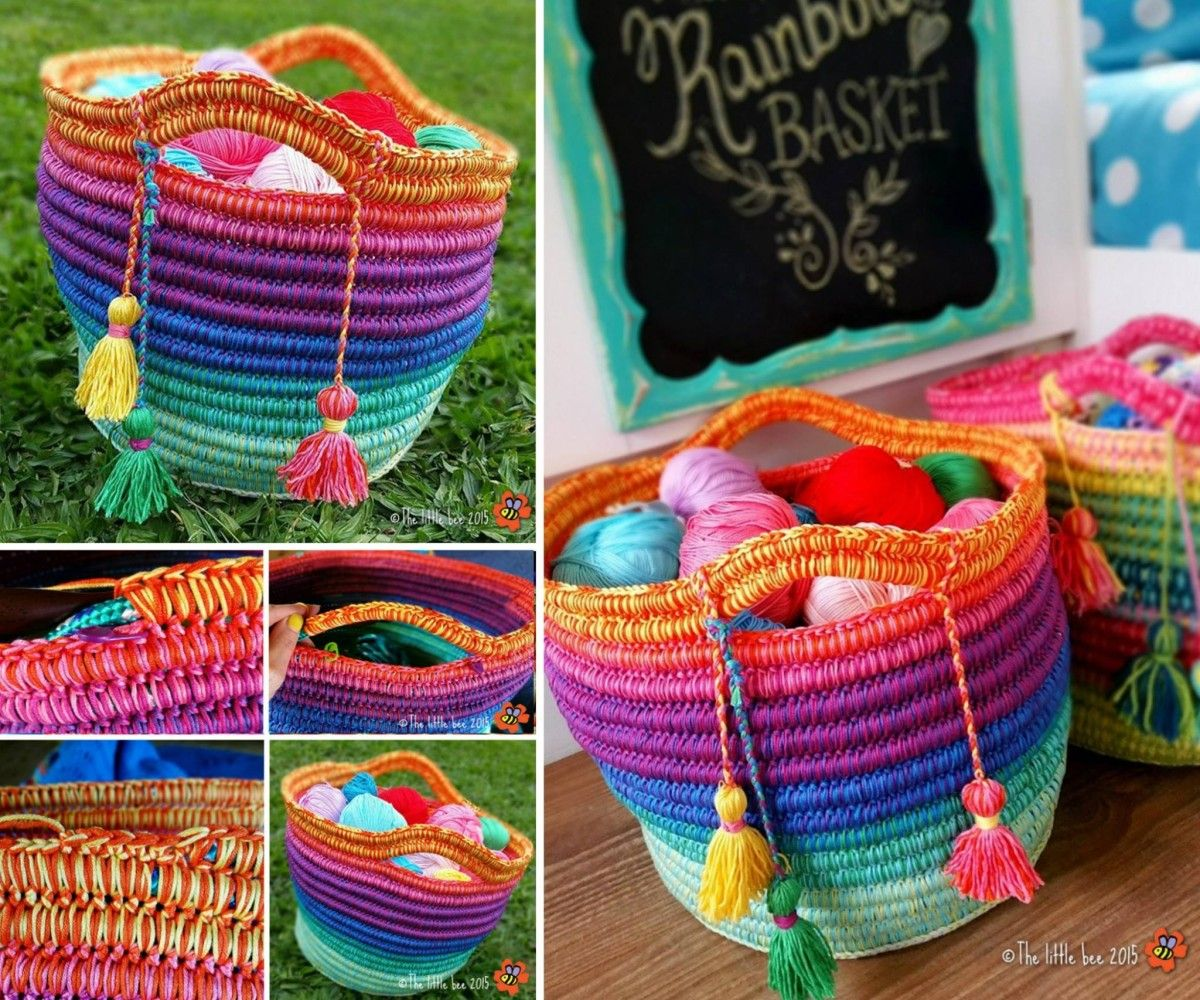 Crochet Rope Basket Youtube Video Easy Instructions | Manchmal ...