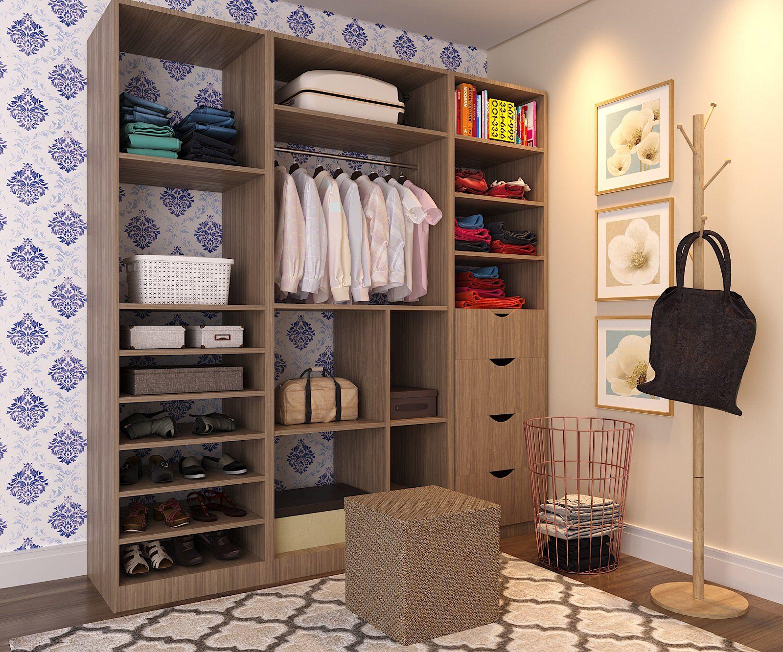 Closet pequeno com papel de parede e tapete I Closet para