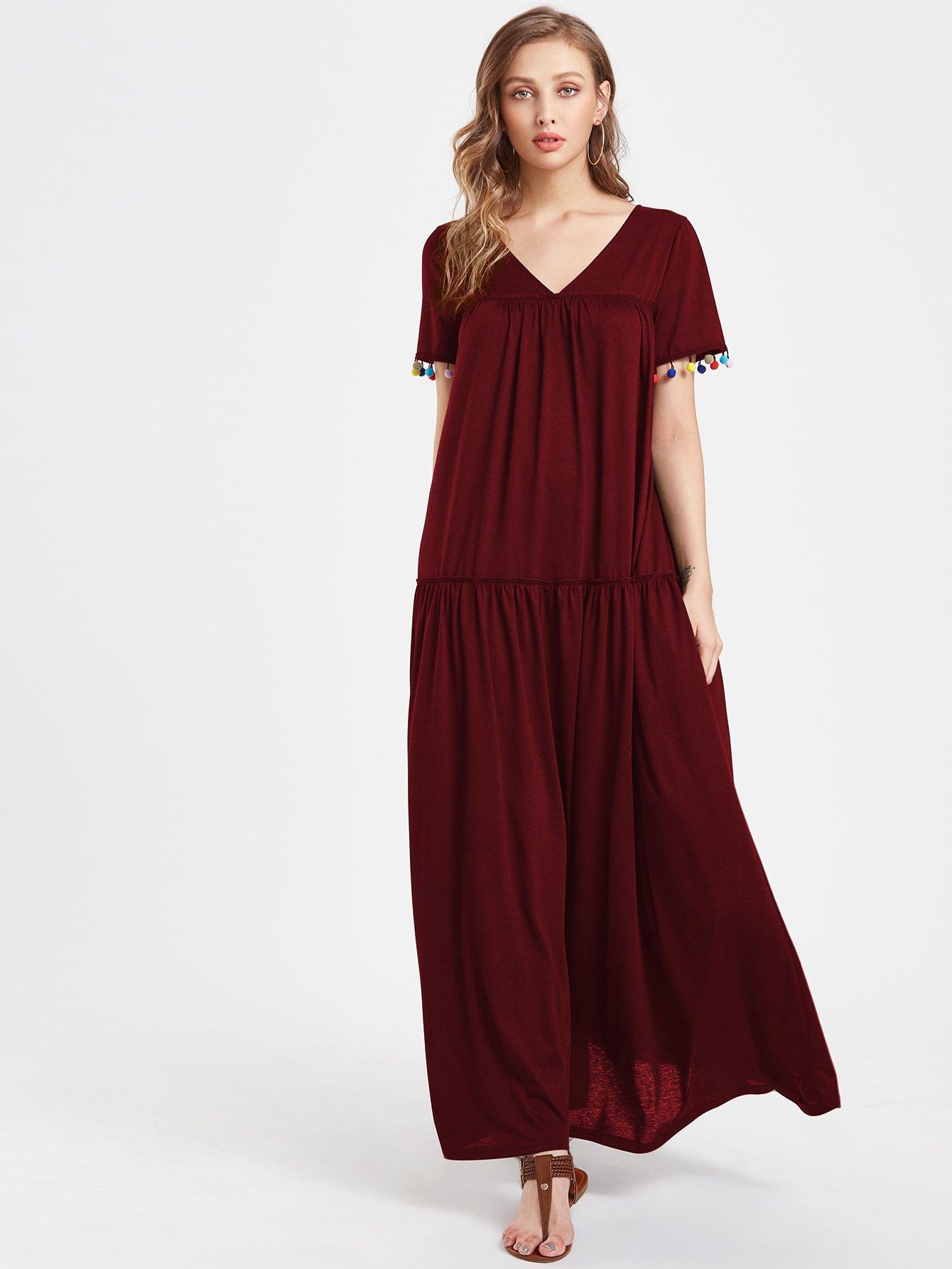 3025fa4c15 Shop V Neckline Pom Pom Full Length Dress online. SheIn offers V Neckline Pom  Pom Full Length Dress & more to fit your fashionable needs.