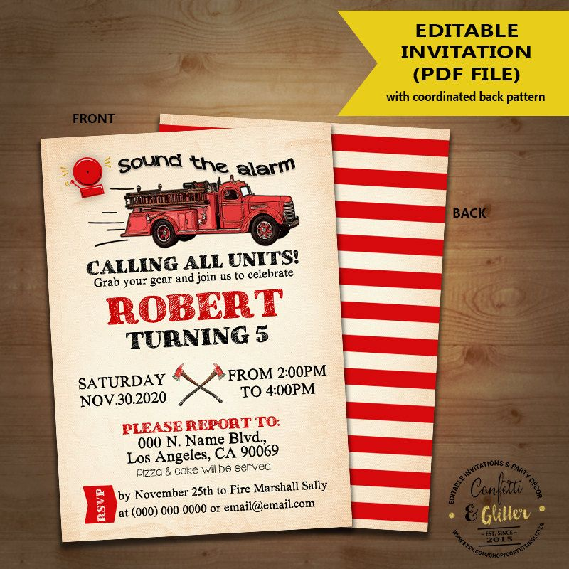 Firetruck birthday invitation firefighter party fireman vintage fire ...