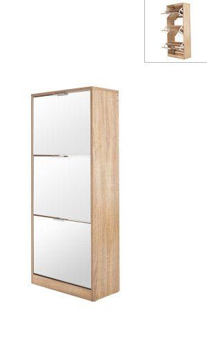 meuble chaussures avec miroir scandinave coloris bois 120 x