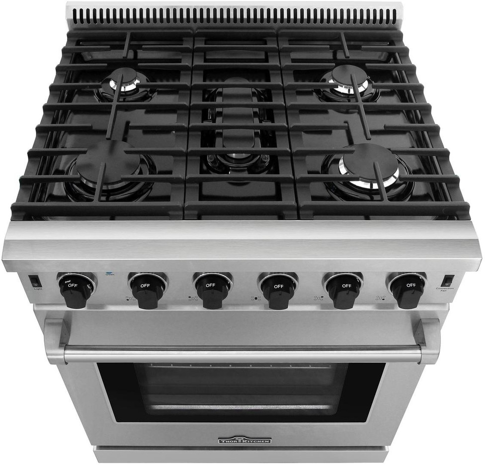 30 Stainless Steel Gas Range Oven With 5 Burner Thor Kitchen Lrg3001u Contemporary Gas Ranges And Electric Ra Oven Range Ventilation Hood Kitchen Styling