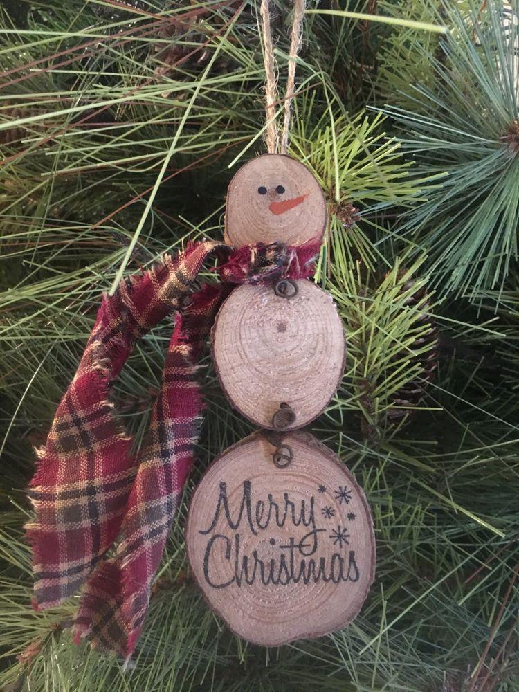 Primitive Merry Christmas Snowman Natural Wood Slice Ornament Rust Wire  Homespun | eBay - Primitive Merry Christmas Snowman Natural Wood Slice Ornament Rust