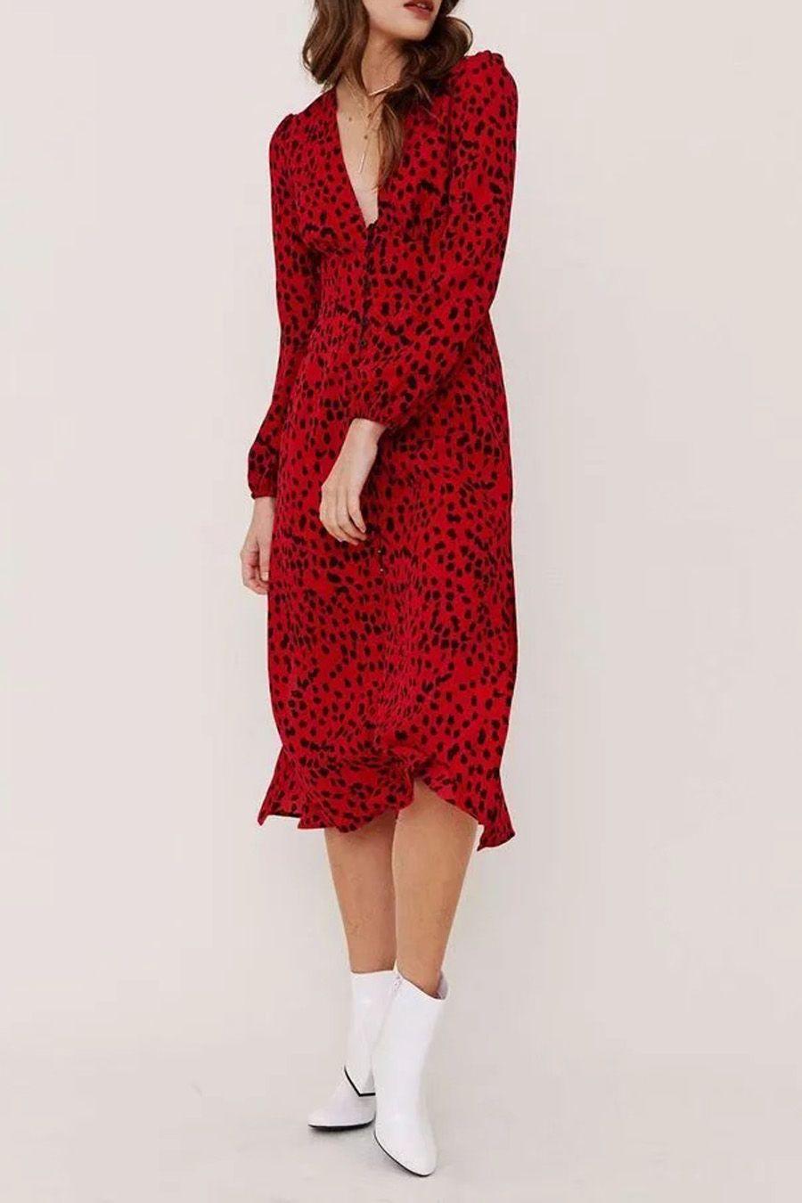Red V Neck Leopard Print Long Sleeve Women Midi Dress Red Long Sleeve Midi Dress Womens Midi Dresses Women Long Sleeve [ 1350 x 900 Pixel ]