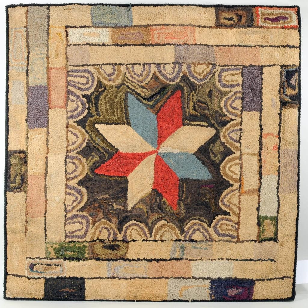 Folk Art Hooked Rug With Star Motif On Hooked Rugs Pinterest