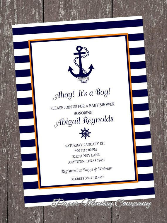orange and navy nautical anchor invitations anchor invitations