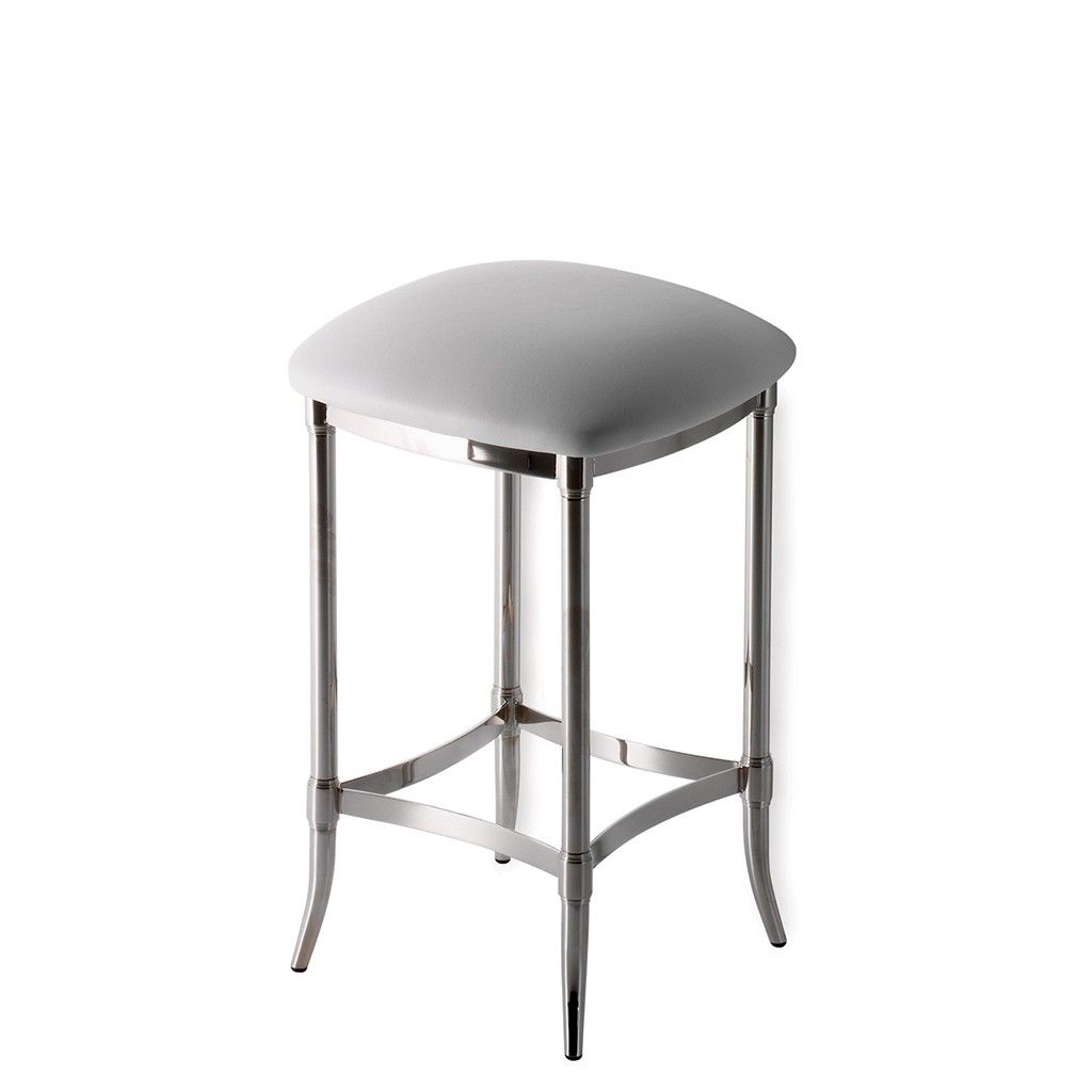 Easton In Nickel With White Vinyl Seat Stool Furnishings Vanity Stool