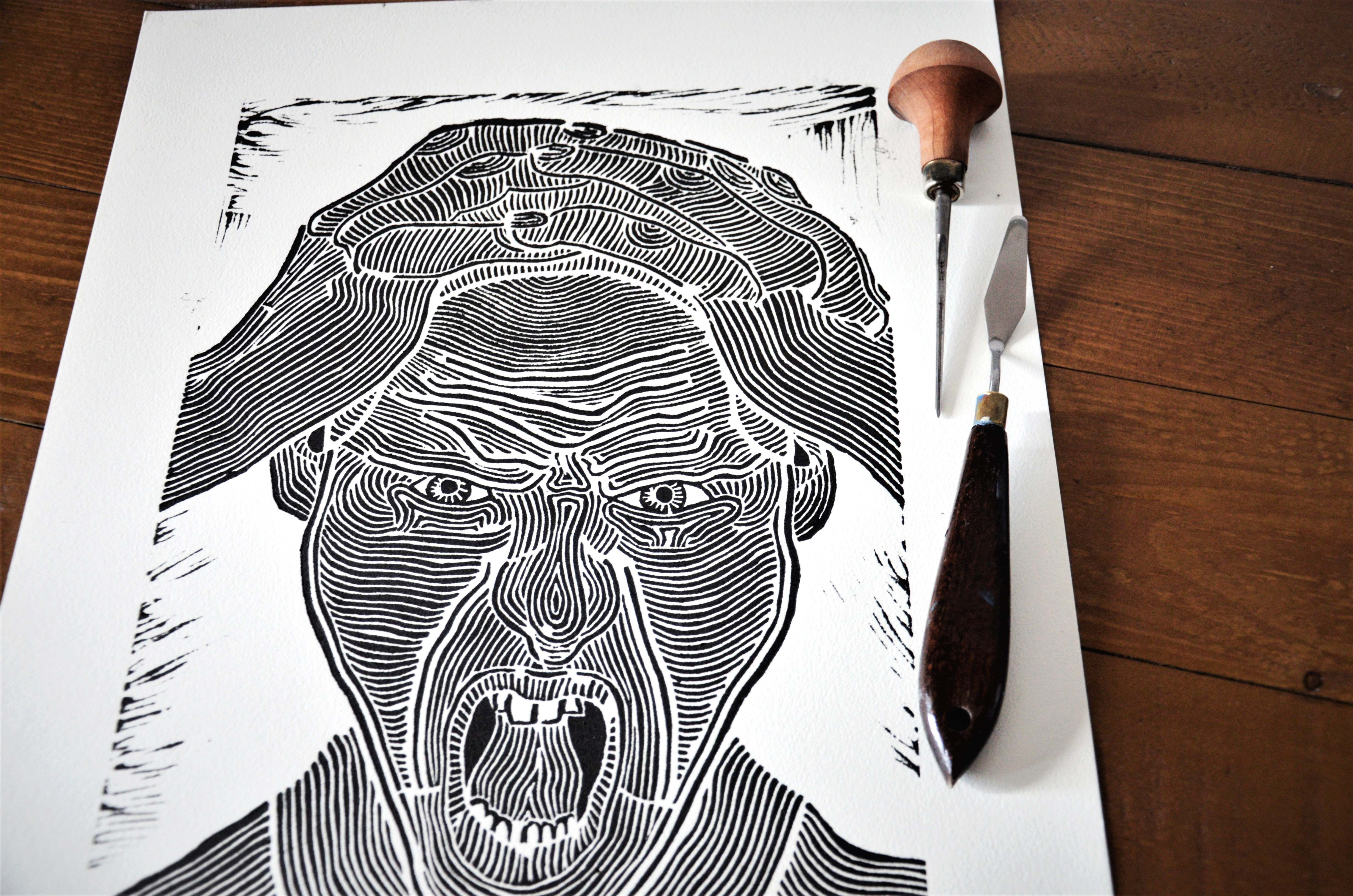 limited to the Din A3 Psychedelic Original linocut print