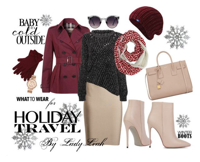 """Traveling Chic"" by ladyleah18 ❤ liked on Polyvore featuring Akira Black Label, Yves Saint Laurent, Burberry, Keds, M&Co, Michael Kors and Quay"