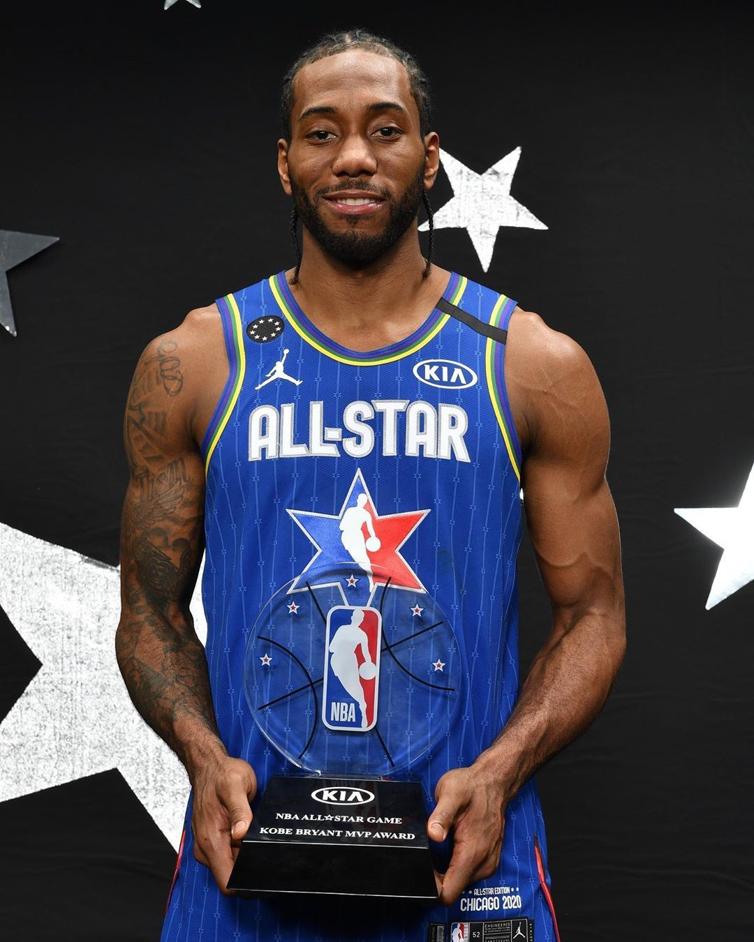 Nba On Instagram The First Kia Nba All Star Game Kobe Bryant Mvp Kawhi Leonard Of The Laclippers Kiaallstarmvp In 2020 Basketball Players Nba All Star Nba