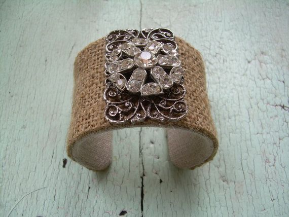 Leslie Janson (etsy) burlap cuff with rhinestone brooch