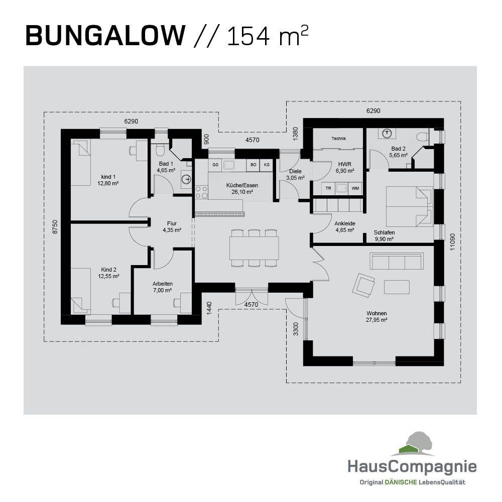 Bungalow Haus Modern Grundriss Mit Walmdach Architektur: Bungalow Grundrisse – Bungalow Bauen Mit In 2019