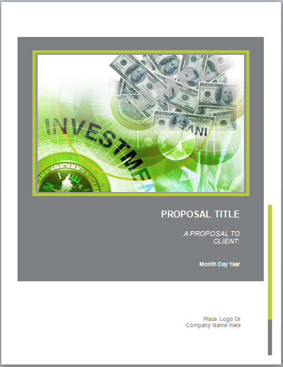 Investment Proposal Template  Wellness Foods To Cook