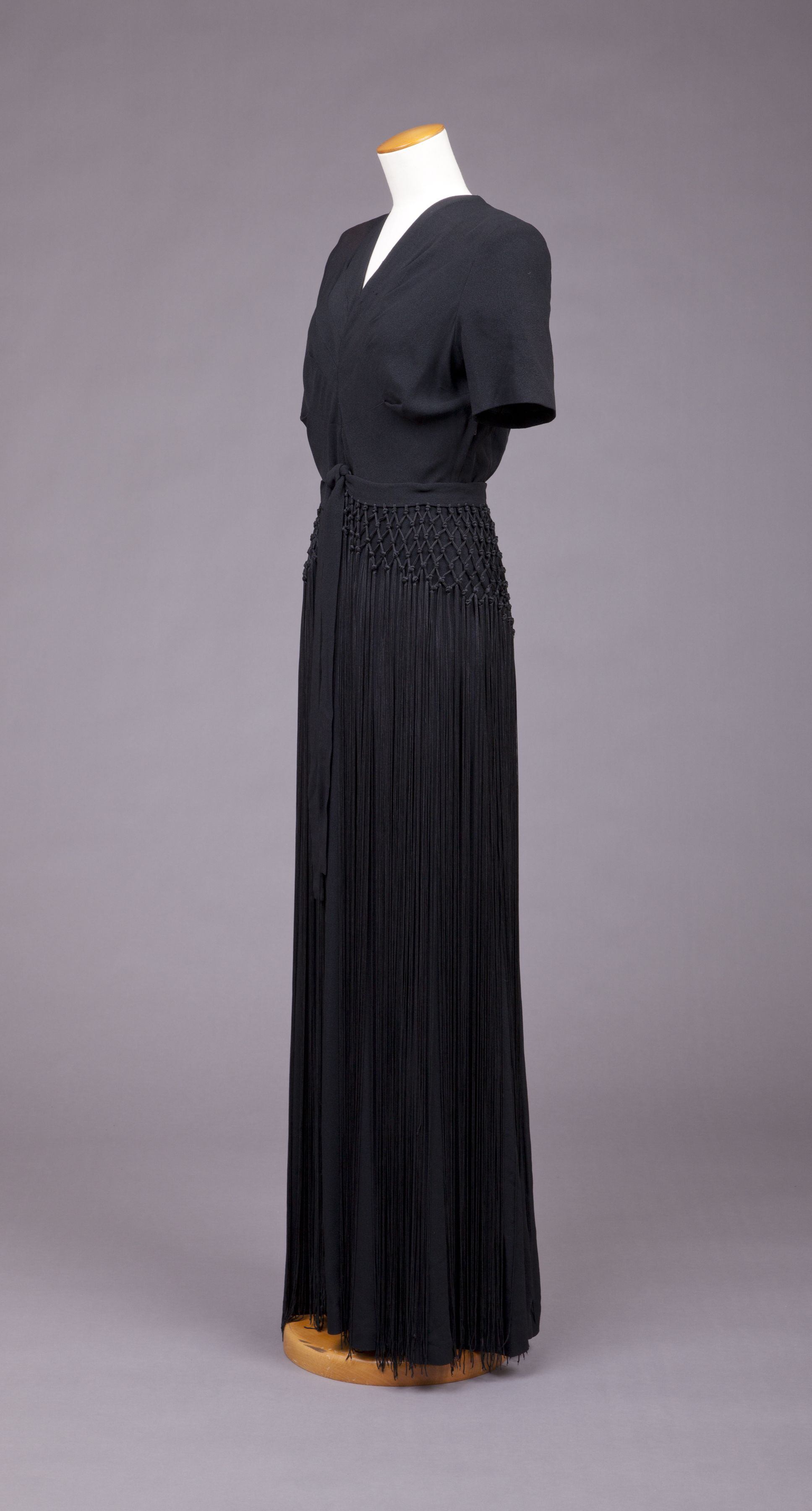 Maker unknown evening dress w hip knotted fringe falling