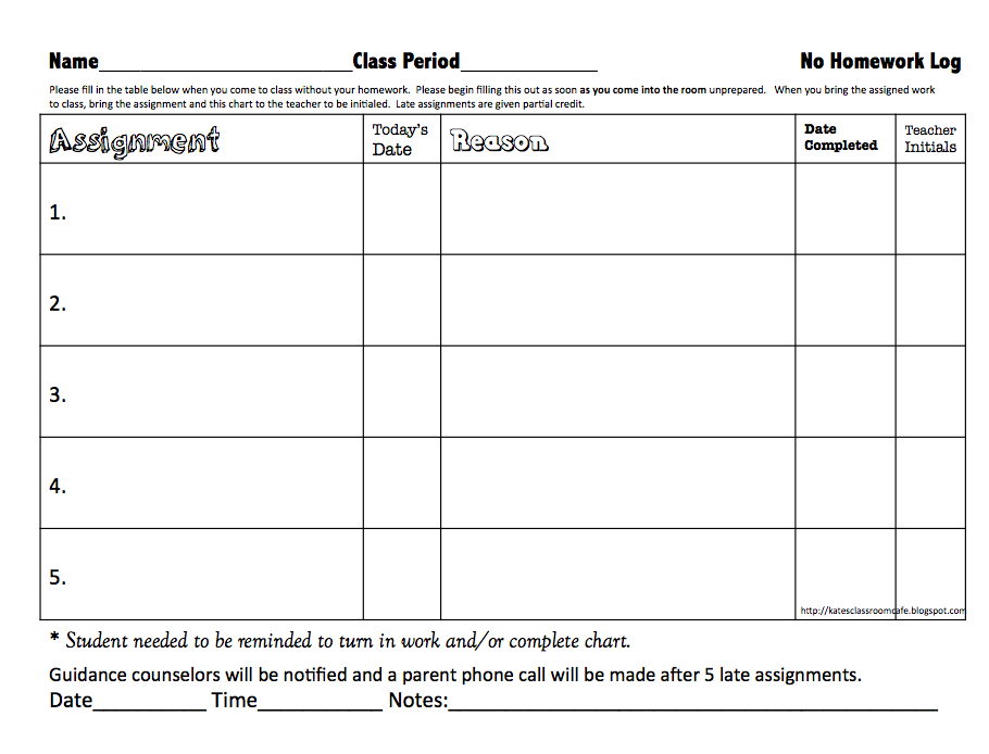 No Homework Record Sheet Freebie  Homework Log Science Classroom