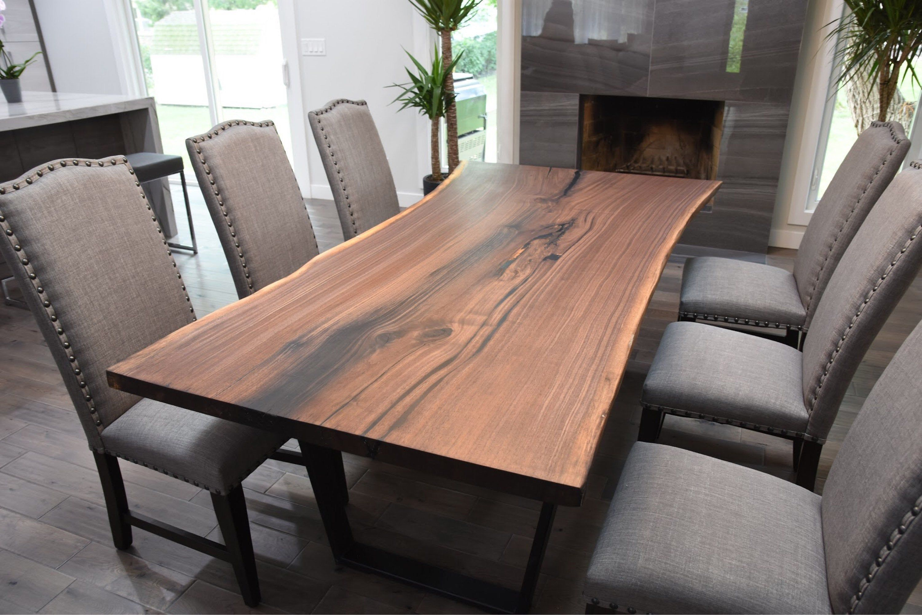 Single Slab Black Walnut Live Edge Dining Table Live Edge Dining Table Live Edge Dining Room Dining Table