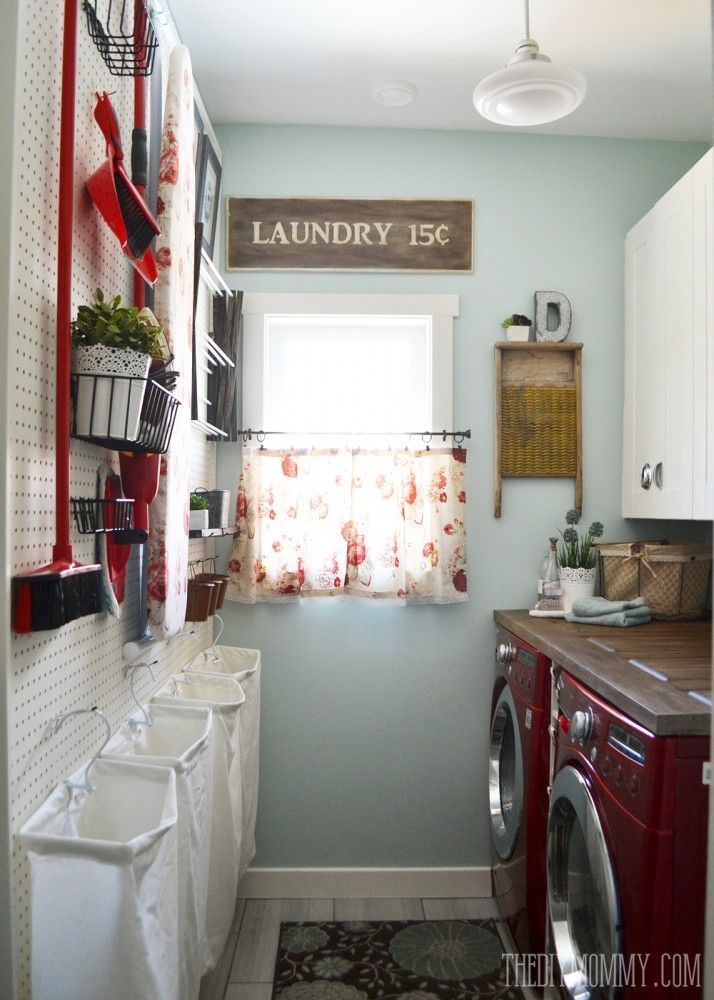 DIY Aqua Red Vintage Inspired Small Laundry Room Design Idea With A Giant Pegboard